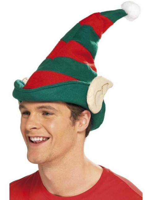 Elf Hat, Green with Red Stripes