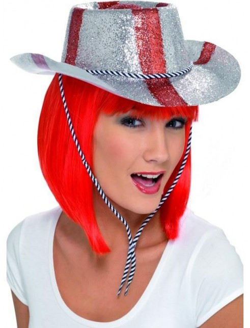 Cowboy Glitter Hat, Red and White