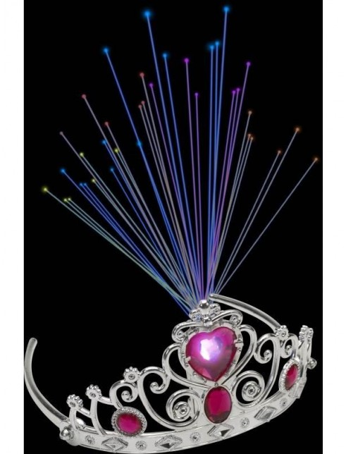 Light Up Fibre Optic Tiara, Pink Jewels
