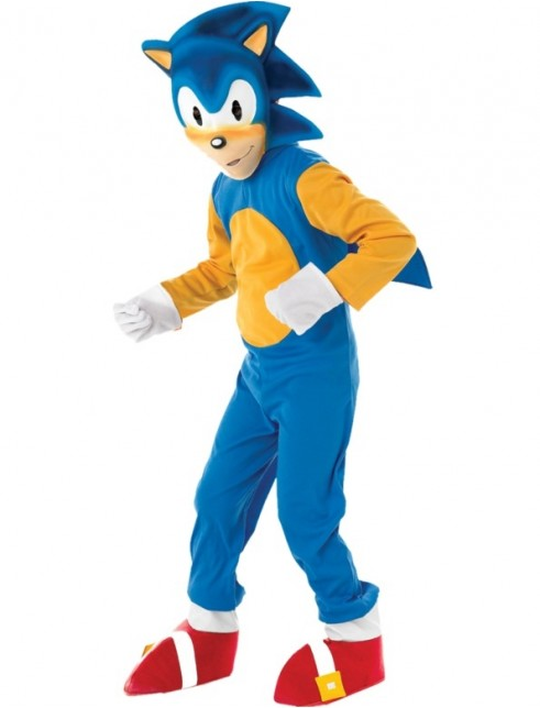 Sonic The Hedgehog Kids Jumpsuit With Attached Shoe Covers Mask And Gloves Fancy Dress Castle