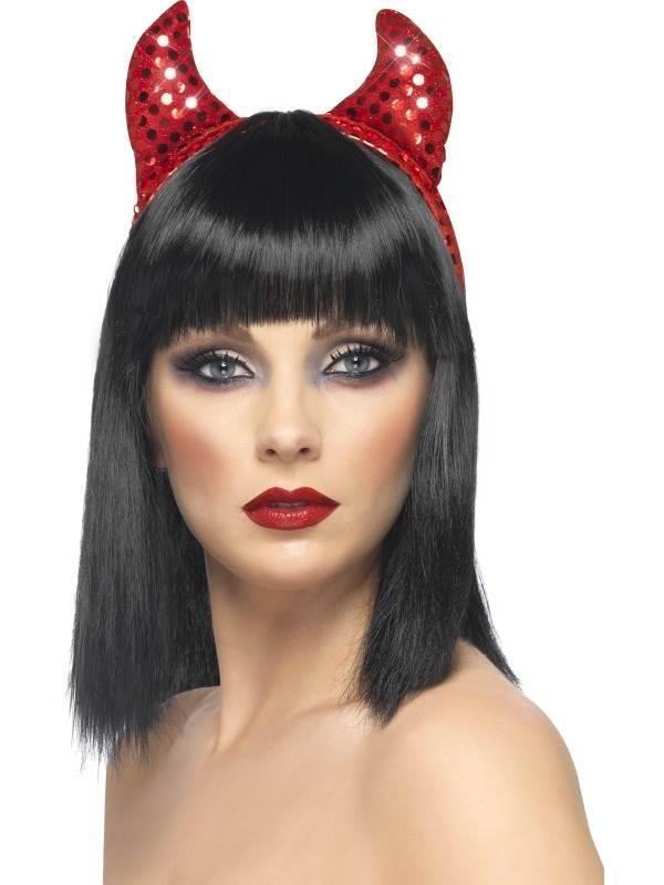 Sequined Devil Horns on Headband