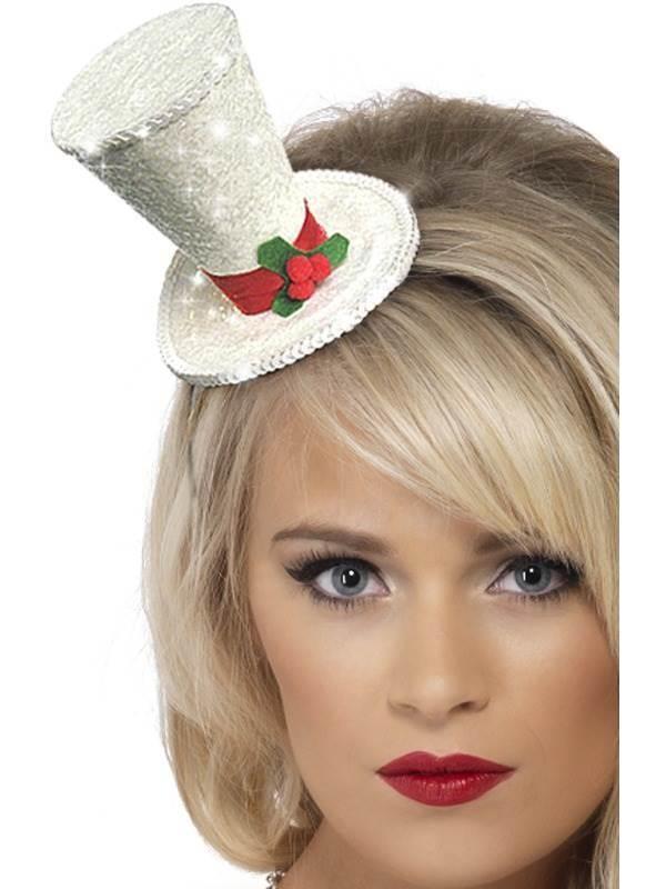 White Christmas Top Hat Headband