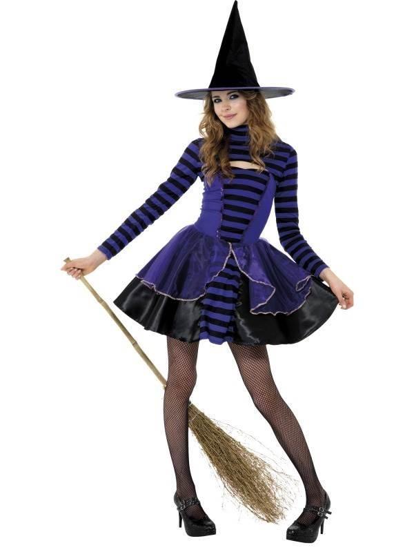 Teen Stripe Dark Fairy Costume, Purple and Black