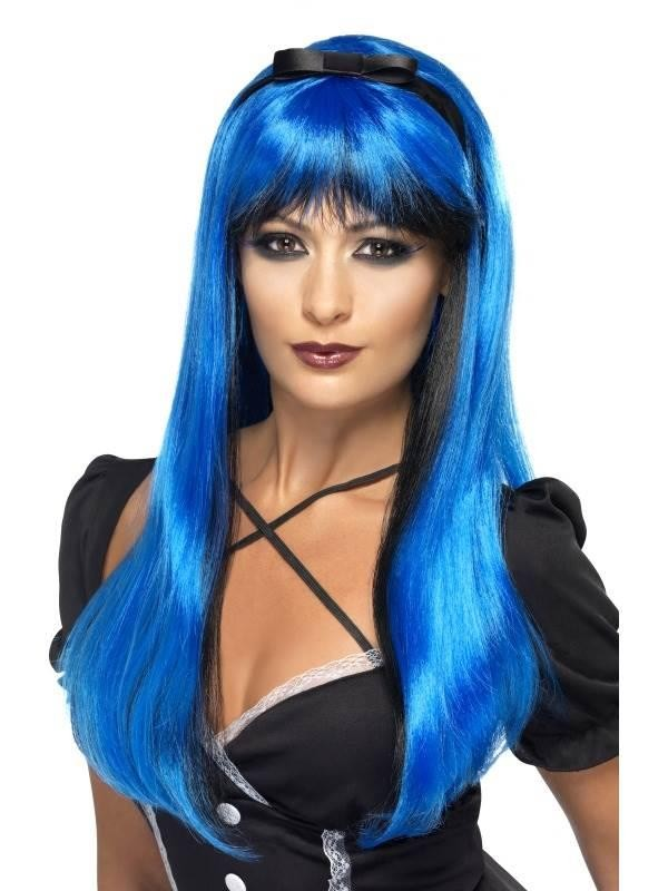 Bewitching Wig, Electric Blue over Black