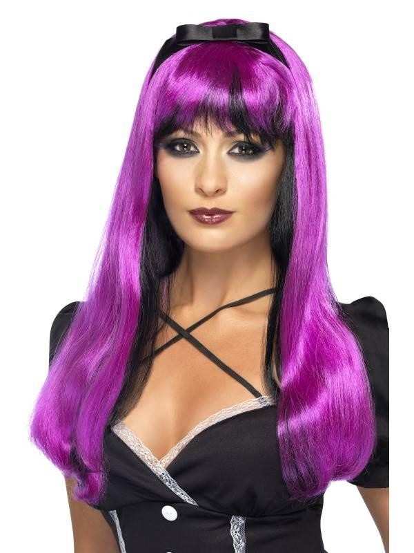 Bewitching Wig, Pink over Black