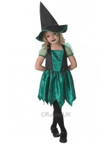 Girls Green Spider Witch Costume