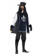 Mens Musketeer Male Costume, with Top, Hat
