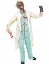 Zombie Doctor Costume, White and Green