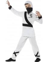 Ninja Assassin Costume, White & Black