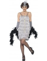 Ladies Silver Flapper Costume