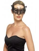 Ladies Venetian Metal Filigree Feline Eyemask